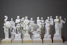SET All 12 Greek Roman Gods Zeus Ares Aphrodite Hermes Athena Alabaster Statue