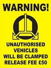 WHEEL CLAMPING SIGN - 300x400mm No Parking - Security