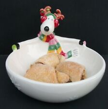 Fitz and Floyd SNOWFLAKE & JAKE Reindeer Christmas Candy Bowl Dish with Orig Box