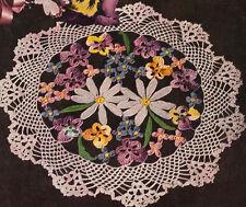 Vintage Crochet PATTERN to make Flower Bouquet Pansy Doily Mat Centerpiece