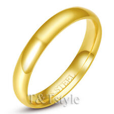 T&T 14K Gold GP 4mm Stainless Steel Wedding Band Ring Size 9 R137