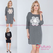 Boat Neck 3/4 Sleeve Tunic Casual Dresses for Women