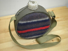 Vintage Canteen Felt Wool Faced and Tin Wrapped Plastic Lined Hunting Hiking
