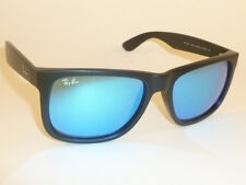 fc55fa856c723 New RAY BAN Justin Sunglasses Matte Black Rubber RB 4165 622 55 Blue Mirror  54mm