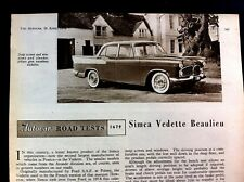 SIMCA VEDETTE BEAULIEU - 1958 - Road Test removed from The Autocar