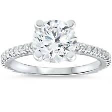 3 Quilates Diamante Anillo de compromiso solitario oro blanco 14K Corte Redondo mejorada
