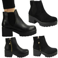 WOMENS LADIES BLOCK CHUNKY MID HEEL PLATFORM ZIP CHELSEA ANKLE BOOTS SHOES SIZE