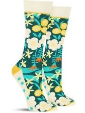 Woven Pear Socks Spring Floral Flower Blue Tall Womens Ladies Bright Funky Retro