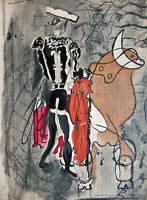 BRAQUE - THE BULL FIGHTER - ORIGINAL LITHOGRAPH FROM VERVE 1955 - FREE SHIP US !