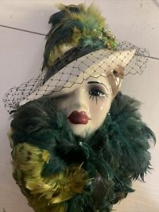 Very Unique Creations Ornate Porcelain Mask Woman of Mystery Green Feathers
