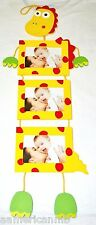 Yellow Red Dino Dinosaur 3 Hanging Wooden Photo Frames Nursery Baby Picture