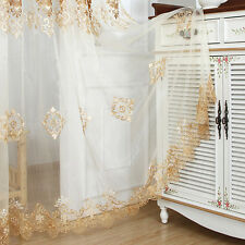 """Lace Sheer Curtain European Embroider Beige Tulle Home Valance Rod Pocket 39*63"""""""