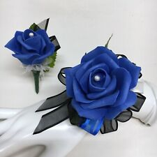 Single Royal Blue Rose on Black Wrist Corsage & Boutonniere Combo