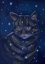 New ListingAceo Orig. Elliiot Tabby Cat Of Twofrogfarm Animals Snow Impressionism