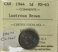 Canada 1944 Small Cent  ICCS MS63 Lustrous Incredible  Colour Coin Cobalt Blue