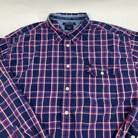 Tommy Hilfiger Jeans Mens Shirt size XXL 2XL Blue Plaid Long Sleeve Casual Woven