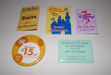 Disney Promotional Pin Back Buttons Walt Disney World 5 Total