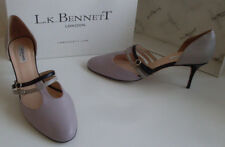 LK BENNETT Purple Grey Strappy Mary Jane Tbar Heels Court Shoes Size EU 41 UK 8