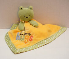 Carters Frog Lovey I Love Hugs Yellow Green Polka Dot Security Plush Toy
