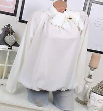 ITALIA Chiffon Camicetta Tunica FIOCCO VINTAGE Ballon bianco 36 38 40 elegante