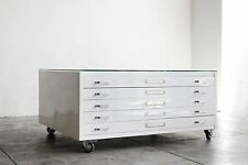 Flat File Coffee Table, Gloss White, Stainless Hardware, Medium - SPECIAL ORDER