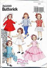 """BUTTERICK SEWING PATTERN 6000 18"""" VINTAGE '56 RETRO DOLL CLOTHES - COAT, DRESSES"""