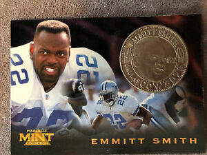 RARE 1996 PINNACLE MINT EMMITT SMITH SILVER COIN & CARD #15 ~ DALLAS COWBOYS