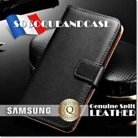 Etui Housse coque Cuir Genuine Split Leather Wallet Case Samsung Galaxy A80/A90