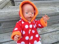 Jacke für Baby Puppen Gr. 40-45 cm Baby Krümel  Muffin Kleidung Puppenkleidung