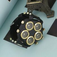 Men's Silver Multifunction  Punk Hip-Hop Cool Personality Rubber Strap Watch BS