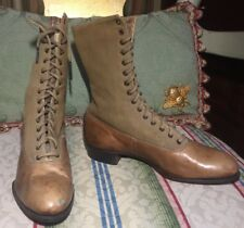 Vintage Pair Ladys Victorian High Leather and Cloth Boots