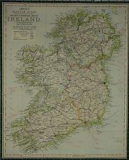 1883 LETTS MAP ~ IRELAND RAILWAYS CONNAUGHT LEINSTER MUNSTER CORK DUBLIN CASHEL