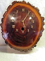 Walnut Wood Wall Clock Vintage Rustic Resin Epoxy Slab Roman Numerals Face