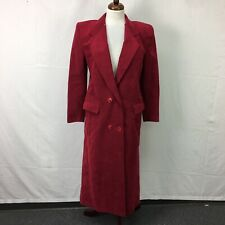 Vtg Red Double Breasted Button Suede Full Length Trench Coat Usa Made Womens 6