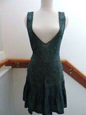 FREE PEOPLE PEACOCK TEAL LACE DEEP V SILK FAIRYTALE DRESS 4 (S)