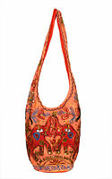 Cotton Canvas Sequin Embroidered Work Tote Hippie Indian Sling Cross Body Bag