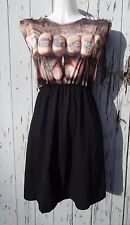 Tattooed Knuckles Black Dress - Size 10 12 14 - Gangster Tattoo Rockabilly