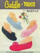 Vintage Kids & Adults Reproduction Crochet/Knit Slippers Pattern, Christmas!