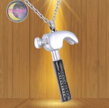 New Hammer Contractor Silver Urn Cremation Memorial Necklace