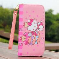 "Cute Hello Kitty Bear Wallet with Strap Zipper Coin Purse 6"" Phone Bag Girl Gift"