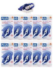 "PLUS Glue Tape Adhesive Roller Permanent Refillable 1/3"" x 72'  & 10 Refills!"
