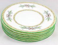 VINTAGE SET 6 BREAD PLATES MINTON BONE CHINA ENGLAND BEVERLEY B1310 AQUA GREEN