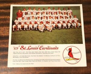 1969 ST LOUIS CARDINALS TEAM PHOTO BOB GIBSON STEVE CARLTON McCARVER LOU BROCK