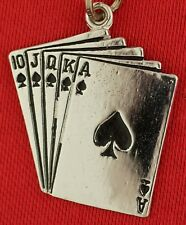 Hand Of Cards Charm Vintage Sterling Playing Cards Charm