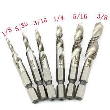 6PCS Hex Shank High Speed Steel Spiral Screw Thread Taps Drill Bits Set