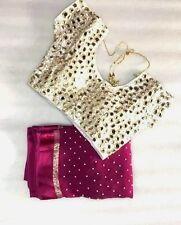 indian bollywood SARI EMBROIDERY READYMADE CHOLI blouse pure Georgette saree