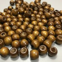 24 pack Macrame /& Craft Wood Beads 11x12mm 5mm to 6mm Large Hole Round Barrel