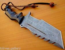 CUSTOM DAMASCUS STEEL HUNTING TRACKER KNIFE / BOWIE / DAGGER / SWORD / MICARTA