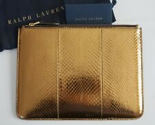 NWT Authentic RALPH LAUREN COLLECTION Gold SNAKESKIN Zip Pouch Clutch Bag