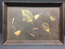 JAPANESE MEIJI ANTIQUE WOOD LACQUER GOLD & SILVER MAKI-E TEA CEREMONY TRAY